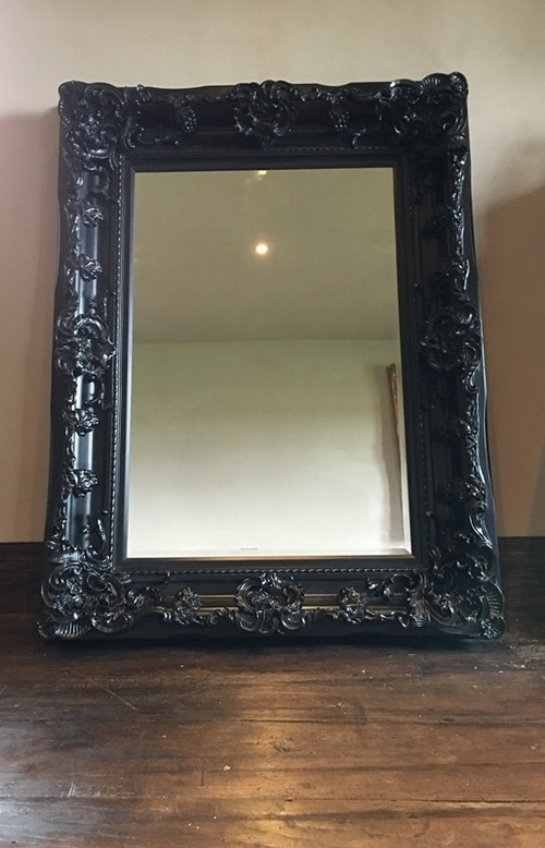 The Champagne - Gothic Black: Available in Sizes Ranging from 4Ft x 3Ft up to 7Ft x 4Ft Mirrors > Black Mirrors