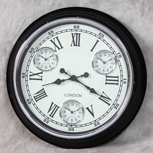 Black with White Face Multi Dial Wall Clock Clocks > Wall Clocks