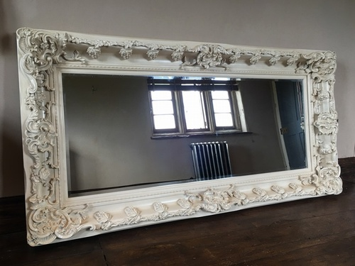 The Champagne - Antique White: Available in Sizes Ranging from 4Ft x 3Ft up to 7Ft x 4Ft Mirrors > White Mirrors