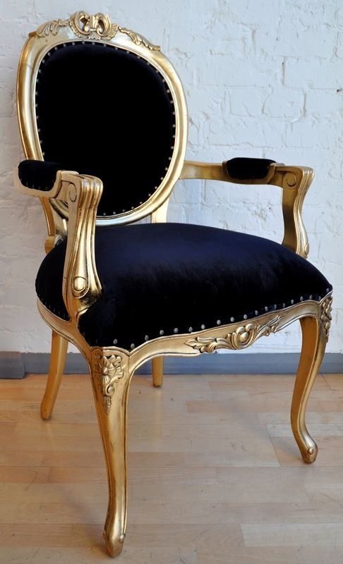 The Versailles Carver Chair - Gold Leaf & Matt Black Seating > Chairs