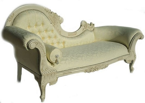 The Flower Carved Chaise Longue: Antique White Seating > Chaise Longue