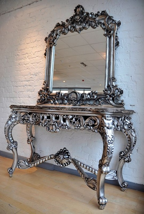 The Berkshire Console w/ Mirror:  Antique Silver & Black Marble Tables > Console Table