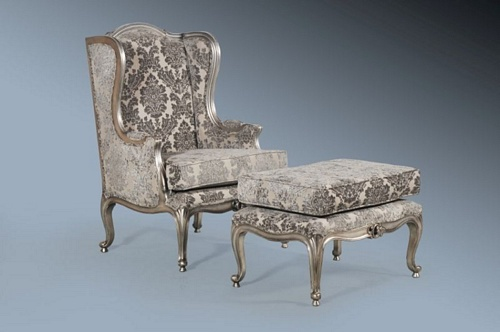 The Wingback Chair: Antique Silver & Grey Damask Seating > Chairs