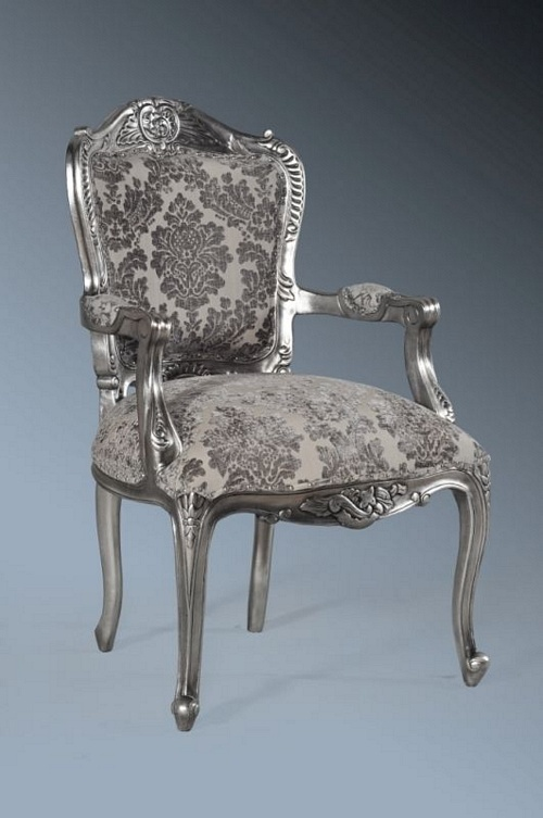 The Grand Louis Chair Antique Silver Amp Grey Damask