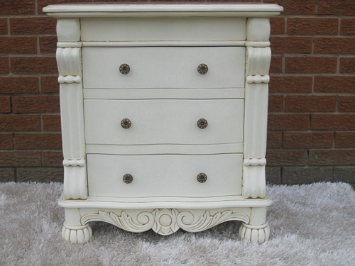 The Large Chateau Side Chest: Antique White Tables > Coffee And Side Tables