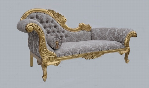 The flower carved chaise longue gold leaf champagne damask s - Chaise style baroque ...