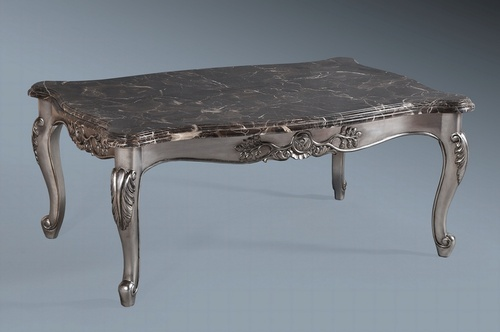 Monaco Coffee Table: Antique Silver Leaf U0026 Black Veined Double Layered Marble  Tables U003e Coffee