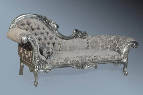The flower carved chaise longue antique silver leaf for Black and silver chaise longue