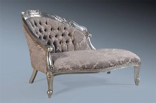 Petit chaise longue antique silver grey damask velvet for Black and silver chaise longue