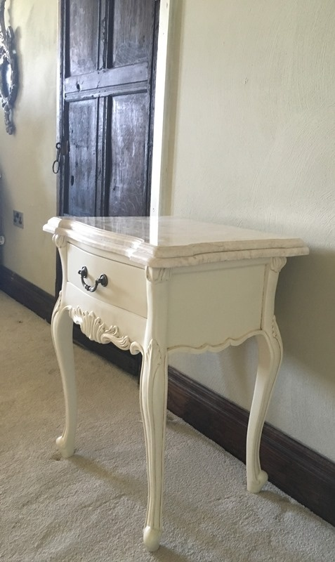 The Charles Side Table French White Amp Cream Double Marble