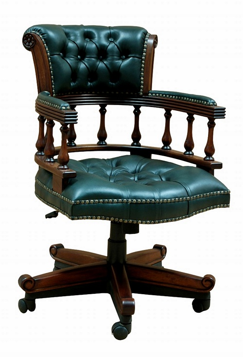 the captain 39 s chair green leather office chairs chateau