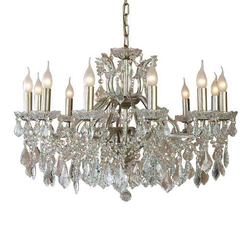The Toulouse: Large 12 Branch Gold Shallow Chandelier Lighting > Chandeliers