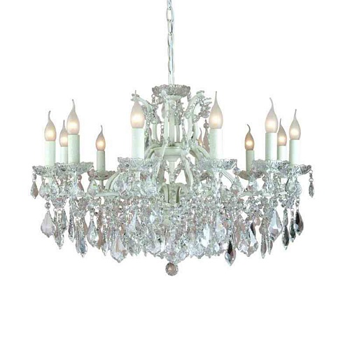 The Toulouse: Antique White 12 Branch Shallow Chandelier Lighting > Chandeliers