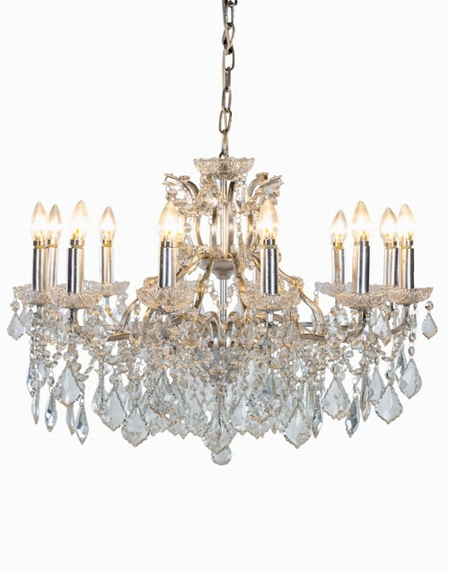The Toulouse: Silver 12 Branch Shallow Chandelier Lighting > Chandeliers
