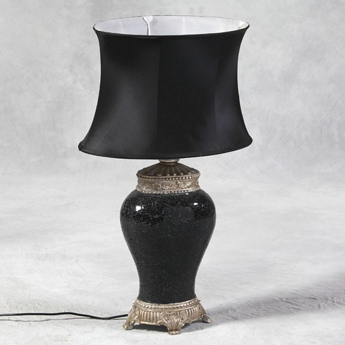 Black Glass Mosaic Lamp with Black Silk Oval Shade Lighting > Table Lamps