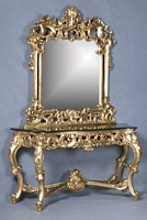 The Berkshire Console w/ Mirror: Gold Leaf & Cream Marble