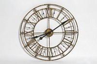 Medium Brushed Gold Iron Skeleton Wall Clock