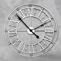 Medium Silver Iron Skeleton Wall Clock