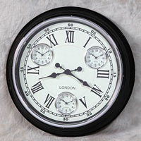 Black with White Face Multi Dial Wall Clock