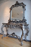 The Berkshire Console w/ Mirror:  Antique Silver & Black Marble