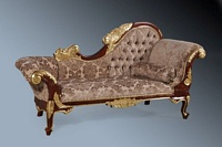 The Flower Carved Chaise: Walnut & Gold Leaf & Mocha Damask Velvet