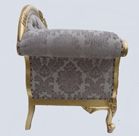 The flower carved chaise longue gold leaf champagne for Black damask chaise longue