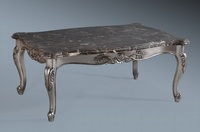 Monaco Coffee Table: Antique Silver Leaf & Black Veined Double Layered Marble