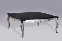 Monaco Coffee Table: Silver Leaf & Black Double Veined Marble