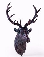 Large Antique Bronze Effect Stag Wall Head