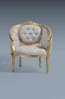 The Single Loveseat: Gold Leaf & Champagne Damask.