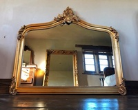 The Annecy Large Over mantle Mirror- Antique Gold