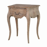 Rustic Natural Vintage French Colonial Reclaimed Pine Bedside Side table