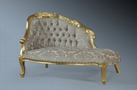 The Petite Chaise: Gold Leaf  & Champagne Damask
