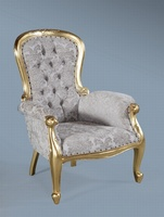 The Grandfather Chair: Gold Leaf & Champagne Damask.