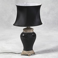 Black Glass Mosaic Lamp with Black Silk Oval Shade